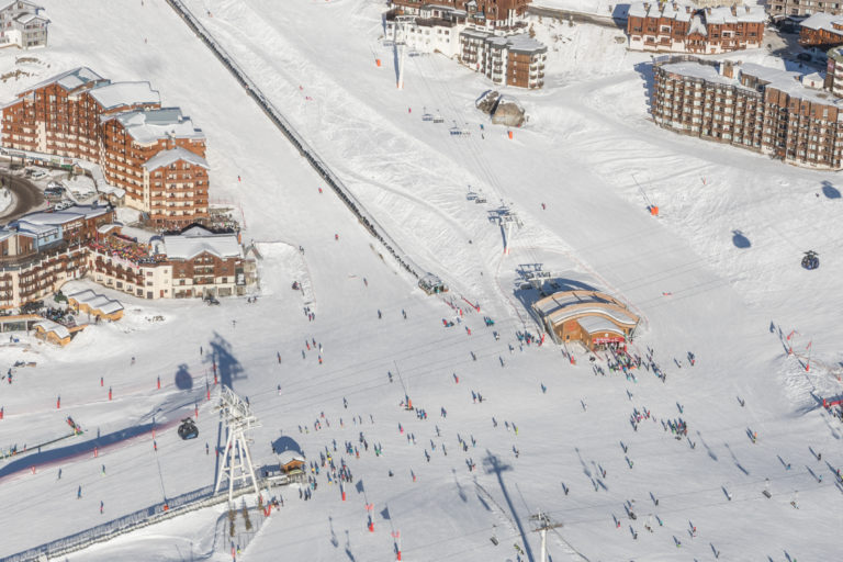 Arial view of Val Thorens covered in snow