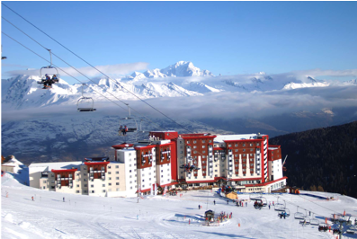 Exterior winter snowy view of Club Med la Plagne 2100
