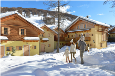 Snow covered exterior view of Club Med in Pragelato Vialattea, Italy