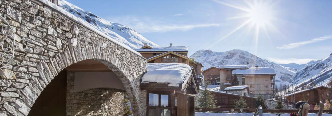Snow covered arches of Club Med Val d'Isere, France
