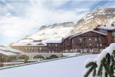 Snow covered landscape of Club Med Val d'Isere, France