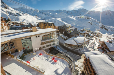 External view of a snow covered Club Med Val Thorens resort in France