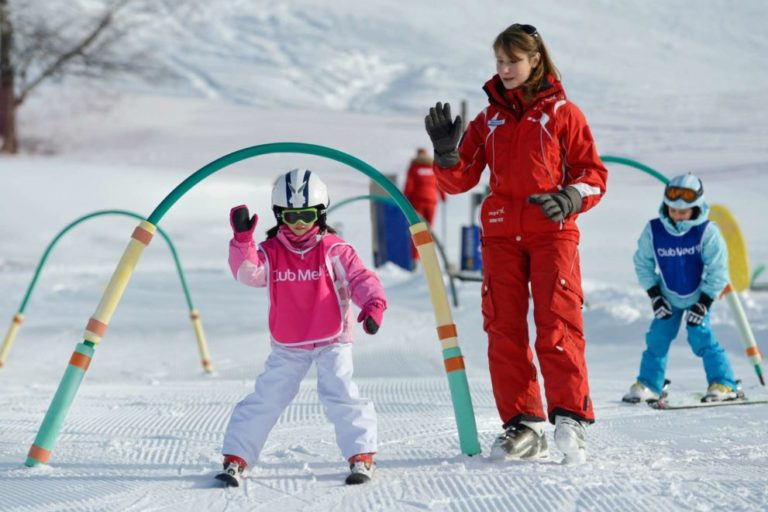 Child learning to ski at Kids club at Club Med Valmorel