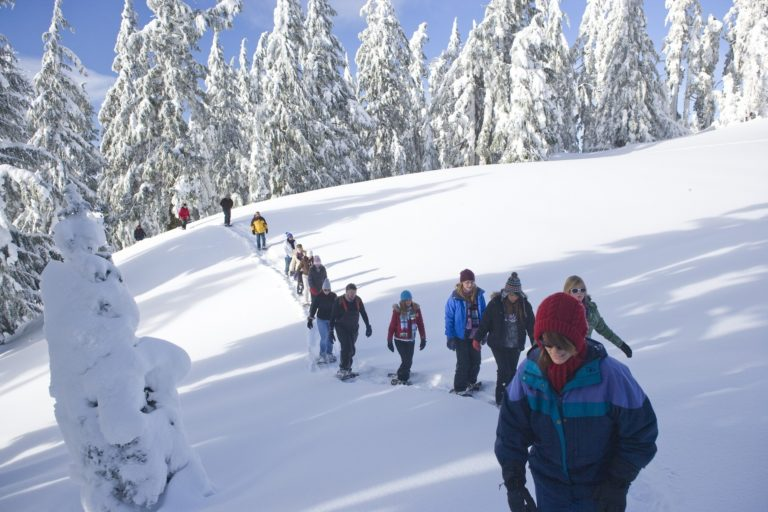 Long line of people hiking through the snow