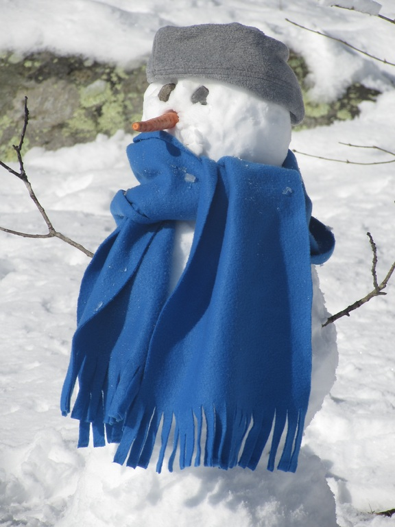 Snowman with blue scarf