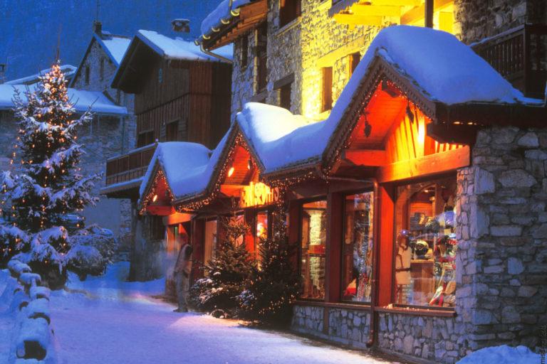 Lit up shop fronts in Val d'Isere Ski Resort, France