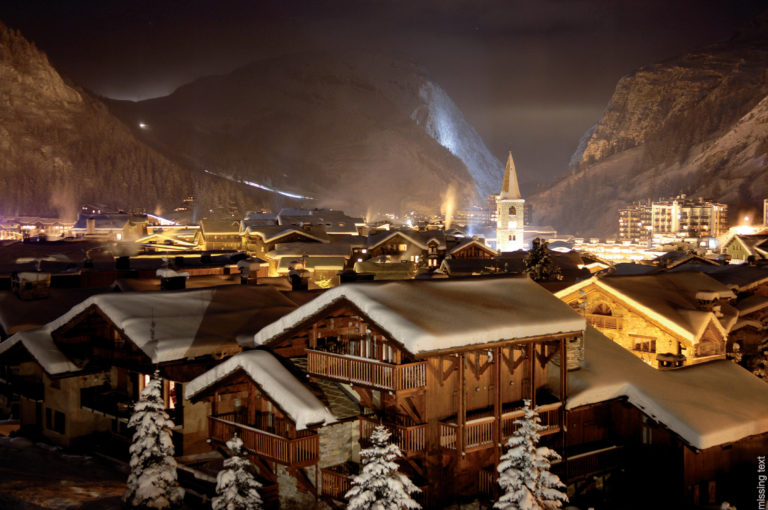 Landscape view of snow covered Val d'Isere Ski Resort, France