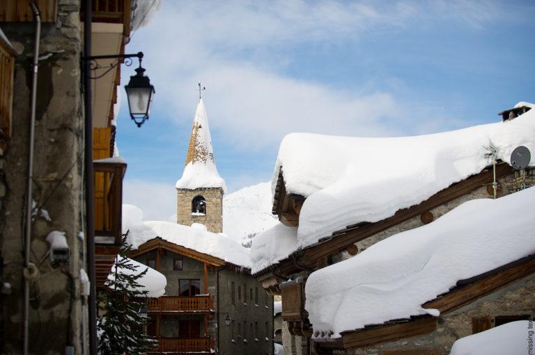 Postcard perfect snow covered village of Val d'Isere Ski Resort, France