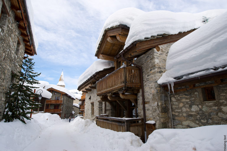 snow scape of Val d'Isere village, France