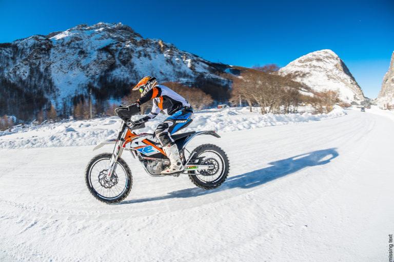 Motor cross on snow in Val d'Isere Ski Resort, France