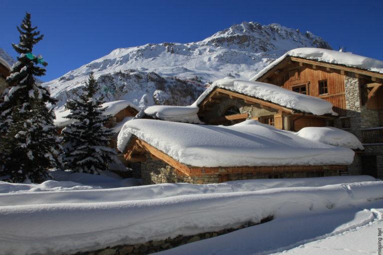 Snow covered chalet in Val d'Isere Ski Resort, France
