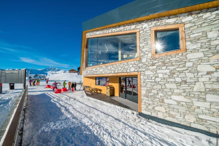 Building in snow in Val d'Isere Ski Resort, France