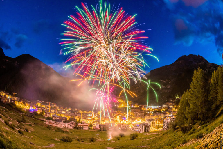 Fireworks over Val d'Isere Ski Resort, France