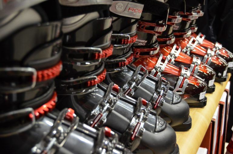 Row of Ski boots for hire or rent