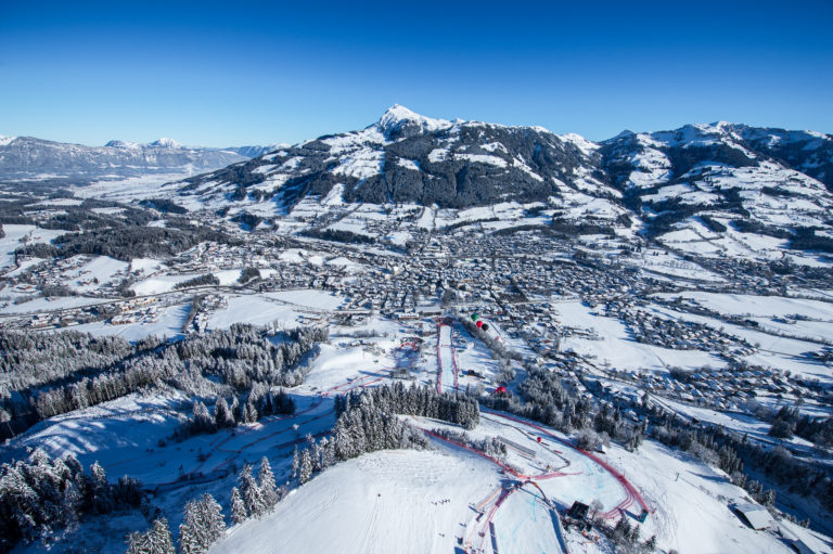 Snow slopes or pistes in Kitzbuhel or Kitzbühel,, Austria
