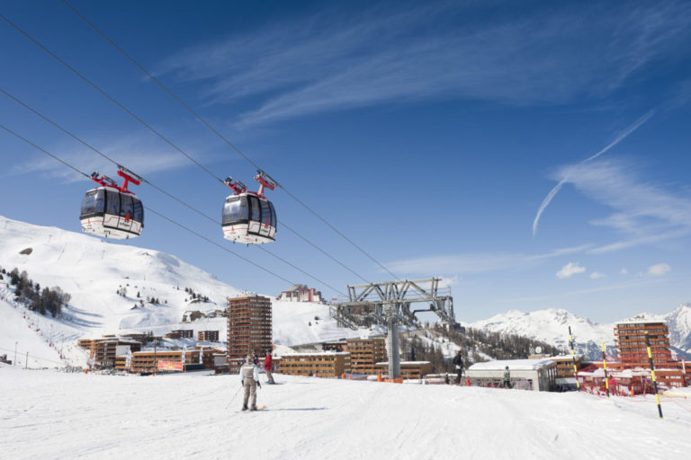 Gondola ski lifts in La Plagne Ski Resort, France
