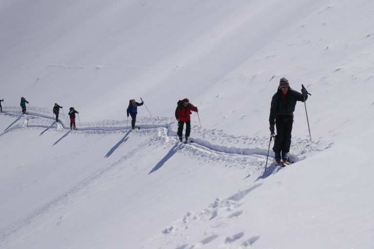 Cross country walking in the snow at Livigno Ski Resort, Italy