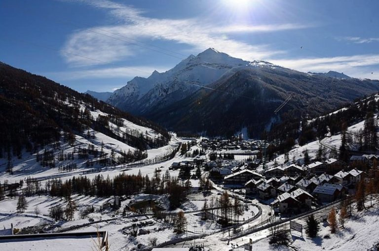 Landscape village view of Pragelato Vialattea in Italy