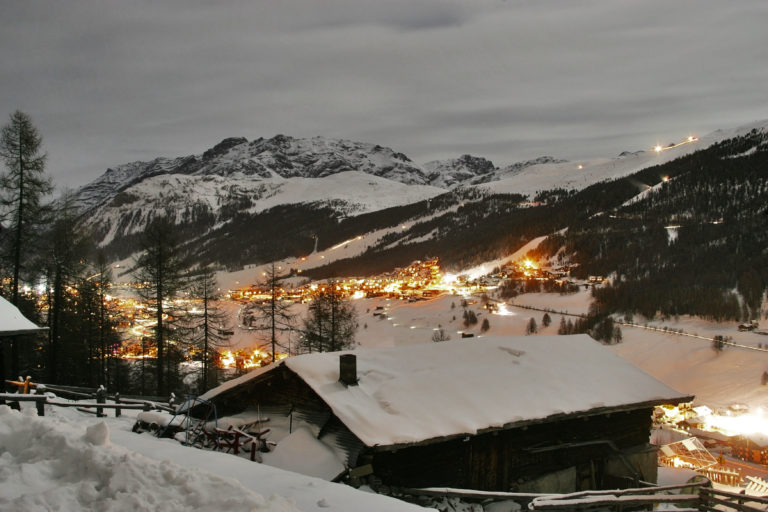 Nighttime view of Livigno Italy