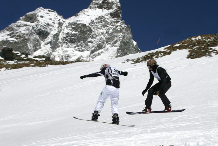 Snow boarders in Cervinia Italy