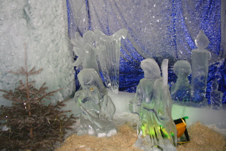 Ice sculpture of Christmas angels in Cervinia, Italy