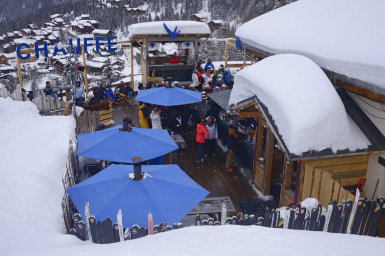 Blue umbrellas in Restaurants in La Plagne Ski Resort, France
