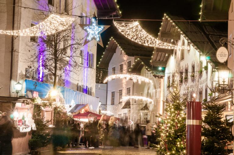 Kitzbuhel Village at Night with lots of lights or Kitzbühel, Austria
