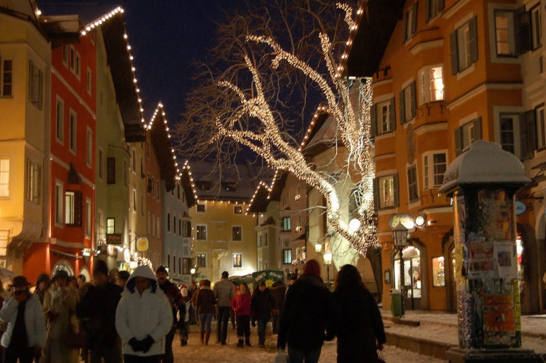 Kitzbuhel or Kitzbühel, Village at Night with lots of lights