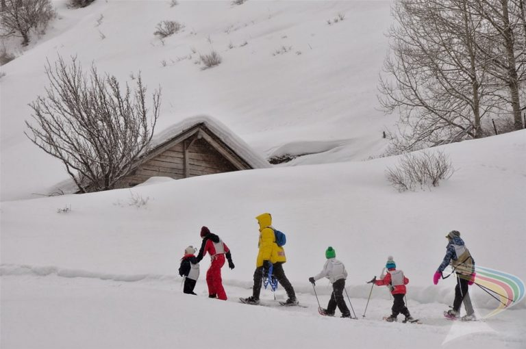 Children's cross country snow walk in Pragelato Vialattea Italy