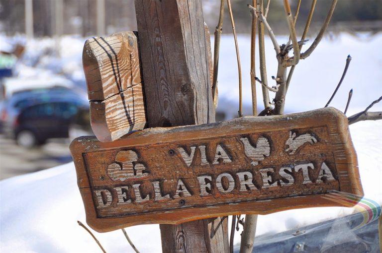 Local sign post in Pragelato Vialattea Italy