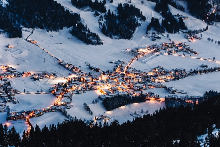 Westendorf Village Centre at night, Austria
