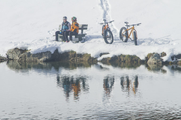 Riding Fat Bikes in the snow in Livigno Italy