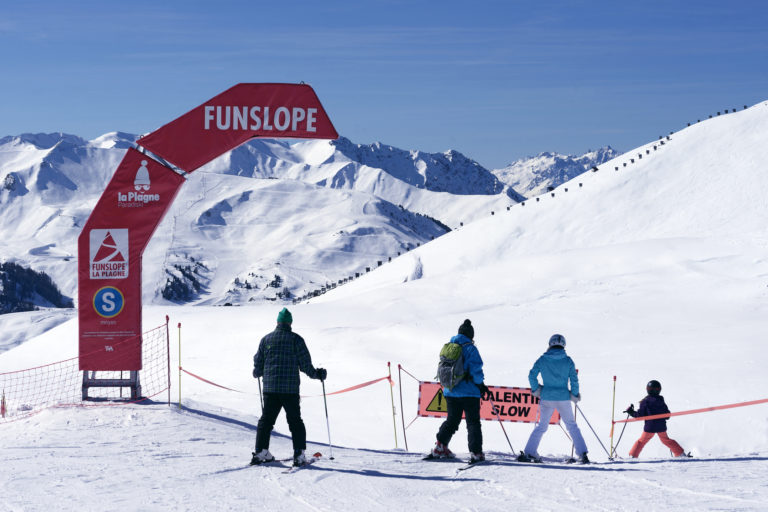 Fun Slope, snow piste in La Plagne Ski Resort, France