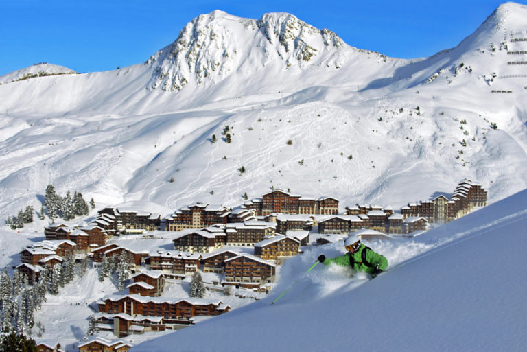 Landscape view of La Plagne Ski Resort, France