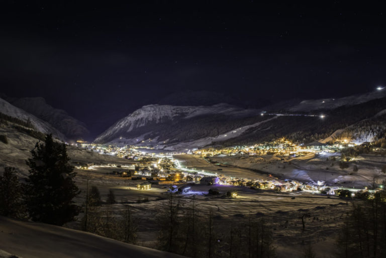 Night lights of the village in Livigno, Italy