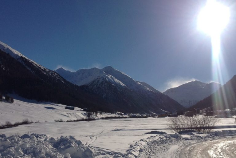Snowy landscape in Livigno Italy