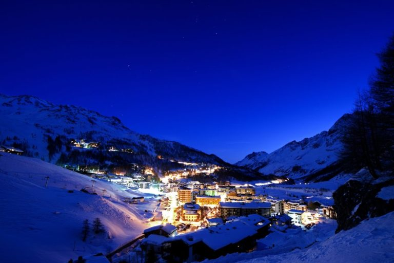 Nighttime village view of Cervinia, Italy