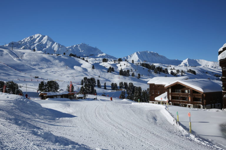 Snow piste in La Plagne Ski Resort, France