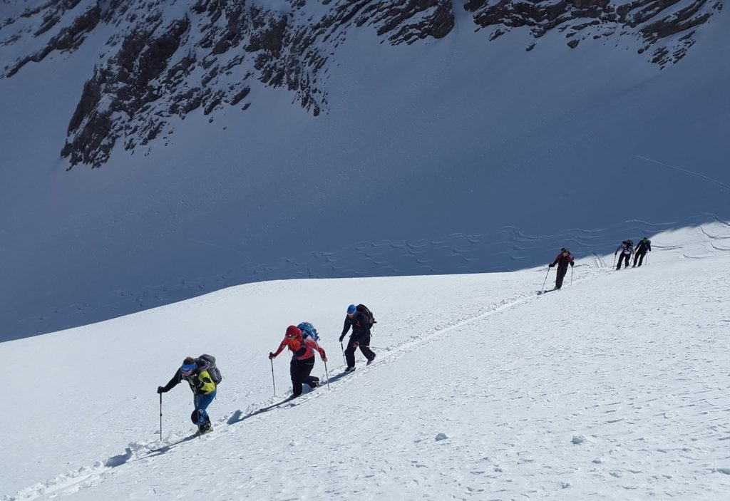 Cross country walkers on snow slope