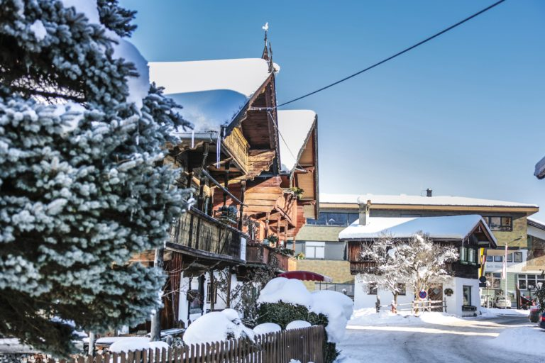 Snow covered hamlet of Unterdorf in Westendorf Austria