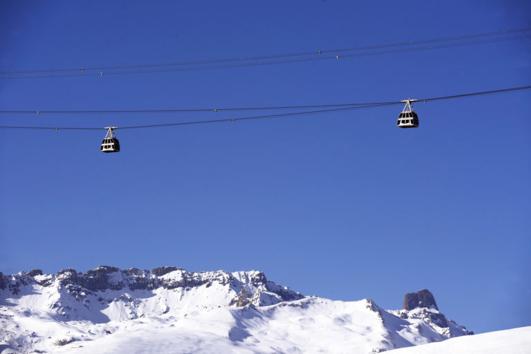 Vanoise Express ski lift in La Plagne Ski Resort, France
