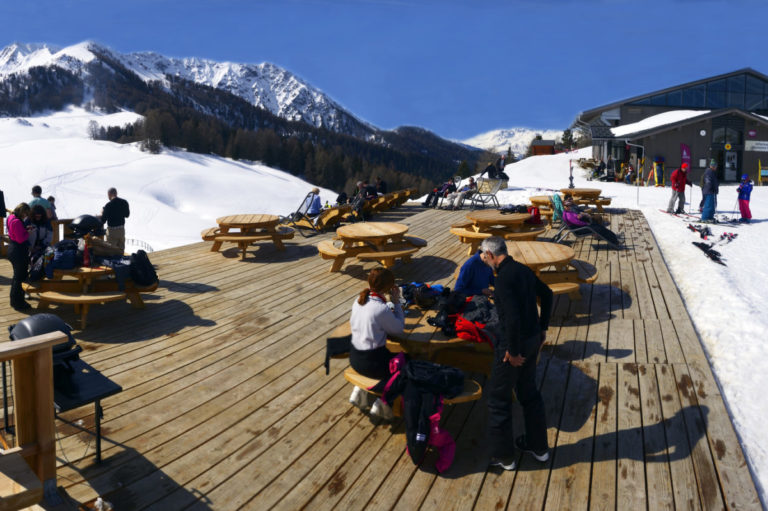 Outdoor area of restaurants in La Plagne Ski Resort, France