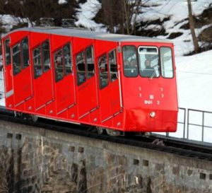 Funicular to transport skiers up to the top of the piste