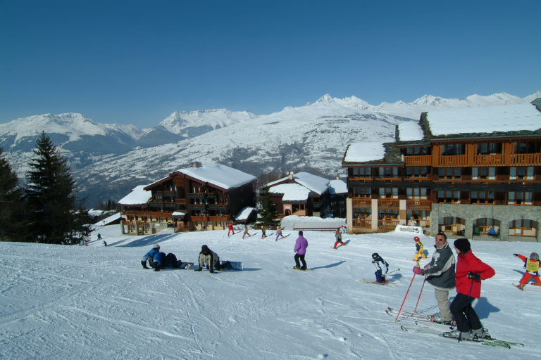 Beginners slope in La Plagne Ski Resort, France