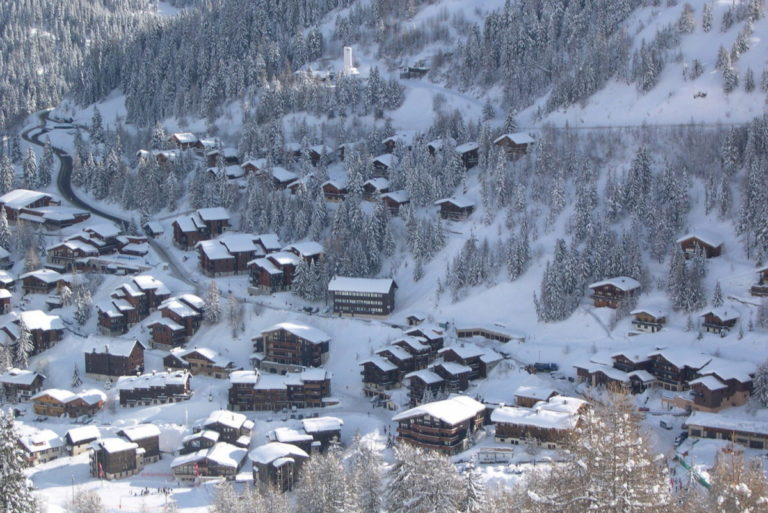 Ariel view of La Plagne Ski Resort, France