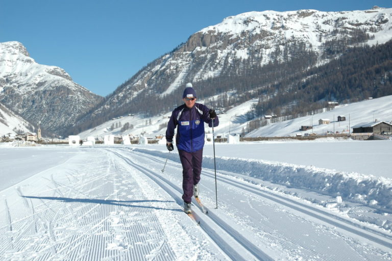Ski fondo or cross country skiers in Livigno Ski Resort, Italy